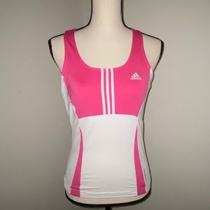 Adidas pink and white workout top